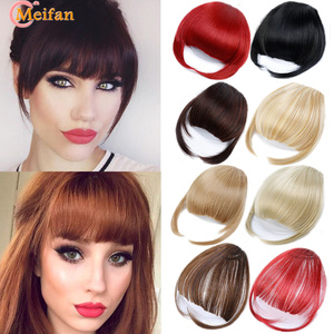 MEIFAN Synthtic Natural Fake Fringe Clip in Bangs Extension Black Brown Red Bangs Hair Pieces for Women Hair Accessories