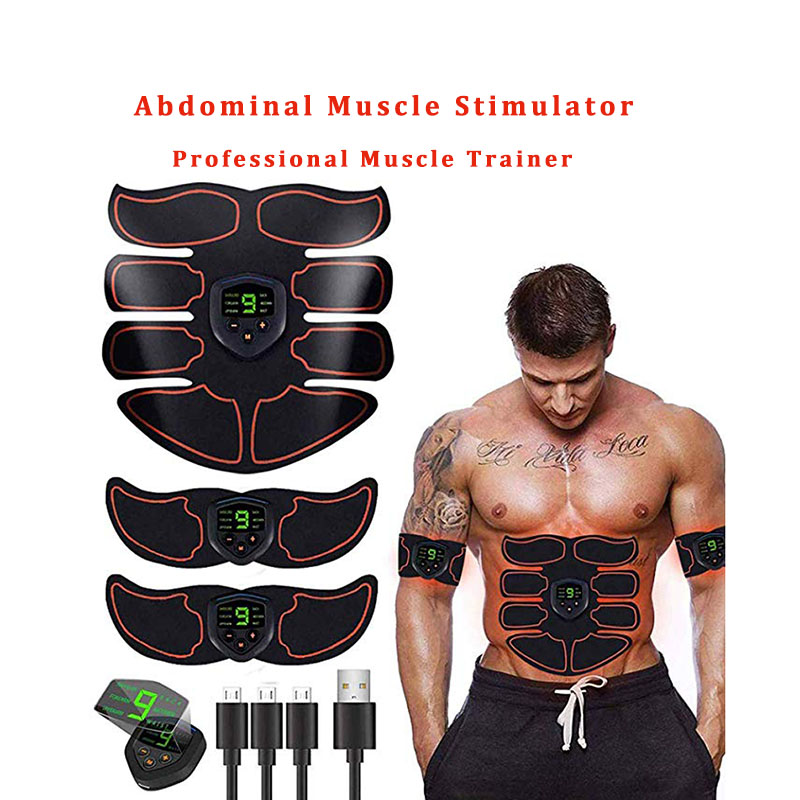 Rechargeable ABS Abdominal Muscle Stimulator Wireless Smart Fitness EMS Trainer Arm Muscle Exerciser Body Slimming Gym Equipment