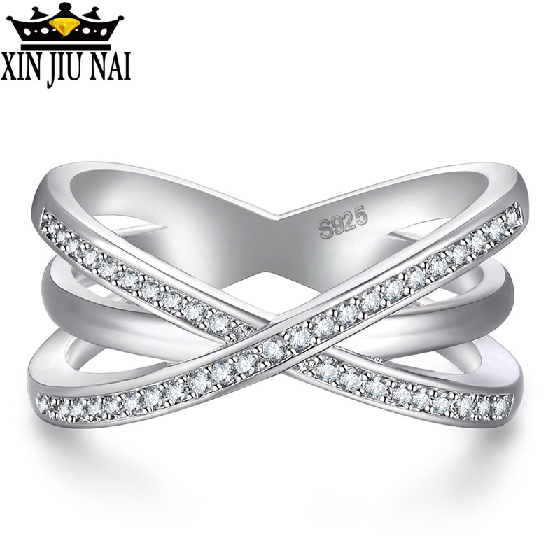 Fashion Solid 925 Silver Ring For Women Cross X Shape Exquisite Party Cocktail Ring Zirconia Micro Paved Silver Jewelry