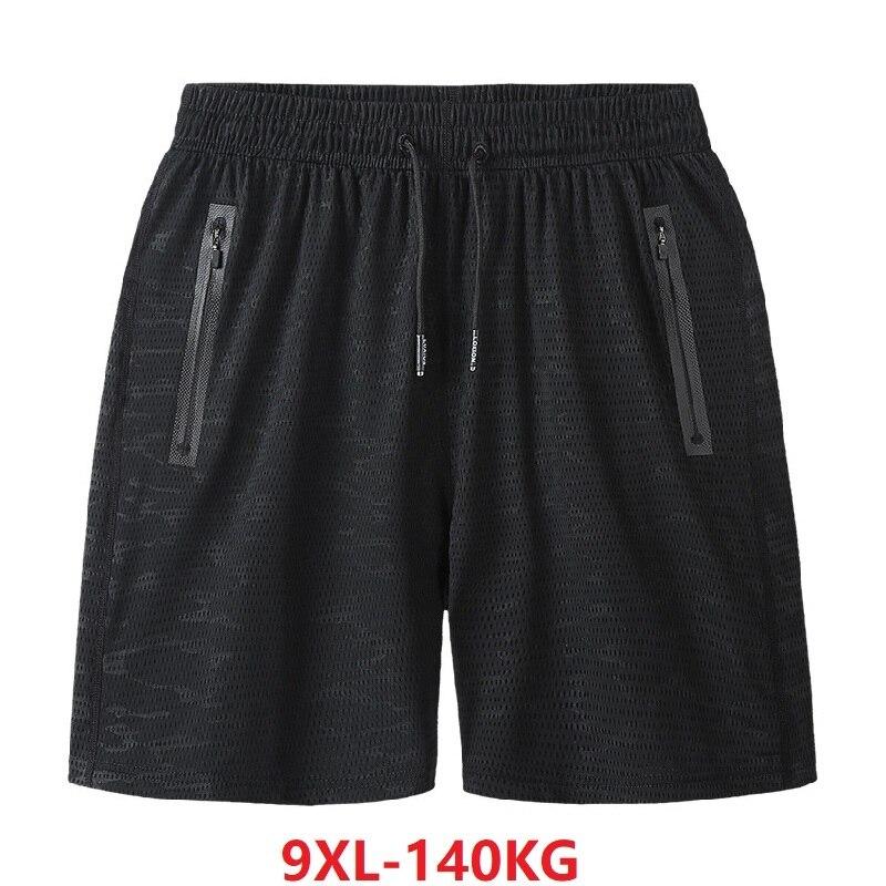 Summer Men Quick Dry Sports Shorts Hole Ice Silk Shorts Workout Fitness Breathable Plus Size 7XL 8XL 9XL Oversize Shorts Zipper