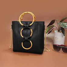 Vento Marea Black Bamboo Shoulder Bags For Women 2019 Fashion Design Summer Handbag Chain Ladies Hand Pu Leather Cross Body