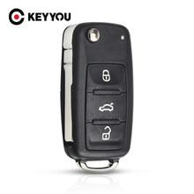 KEYYOU – coque de clé télécommande pliable à 3 boutons, pour VW Polo Golf 4 7 6 MK6 Tiguan Touareg lame non coupée
