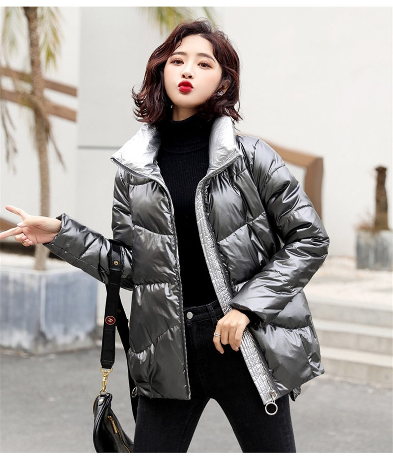 2020 New Year Winter   Jackets   and Coats For Women Simple Fashion Stand Collar Shiny Down Cotton Parka Mujer   Basic   Outwears f2559