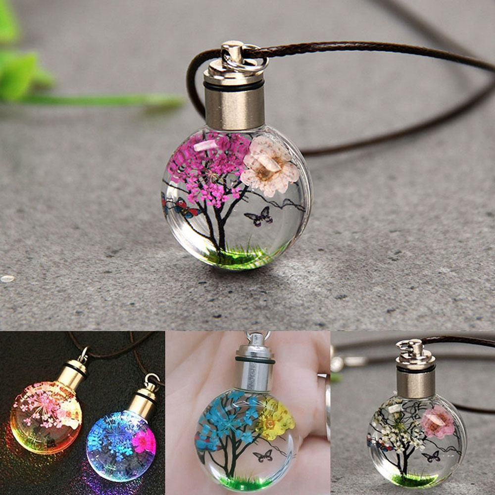 New Luminous Dried Flower Butterfly Glass Ball Women Necklace Pendant Rope Chain Necklace for Women Strip Leather Choker