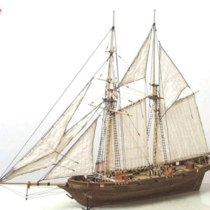 1 Set Assembling Building Kits Ship Model Wooden Sailboat Toys Sailing Model Assembled Wooden Kit DIY Wood Crafts