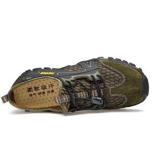 Image 3 - קיץ לנשימה גברים נעלי הליכה זמש + רשת חיצוני גברים ספורט טיפוס נעלי גברים נעלי ספורט מהיר יבש מים נעליים