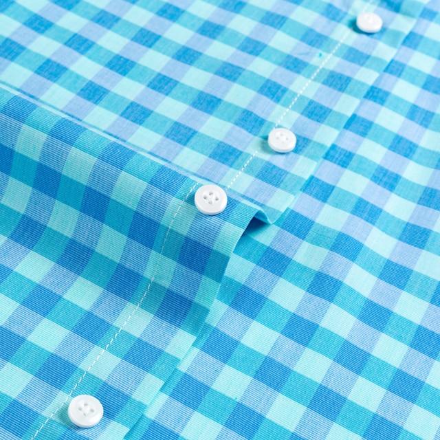 Plaid Checkered Short Sleeve Cotton Shirts 4