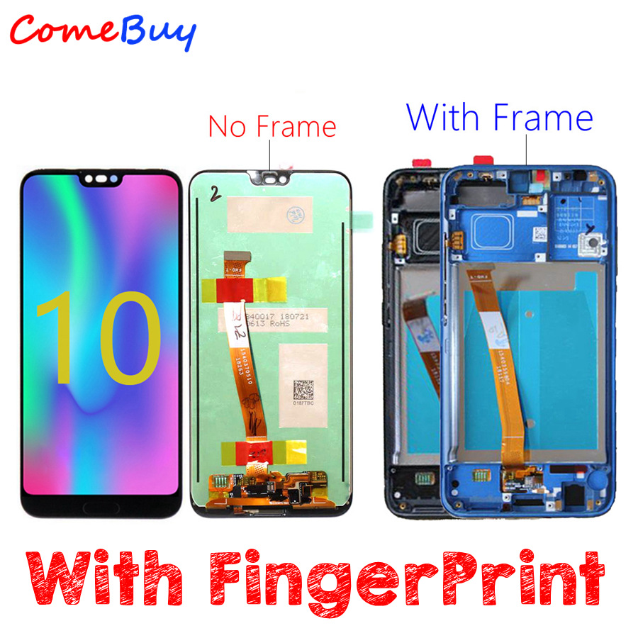 Display For Huawei Honor 10 LCD Display Touch Screen Digitizer For Huawei Honor 10 LCD Screen With Frame+FingerPrint Sensor-in Mobile Phone LCD Screens from Cellphones & Telecommunications    1