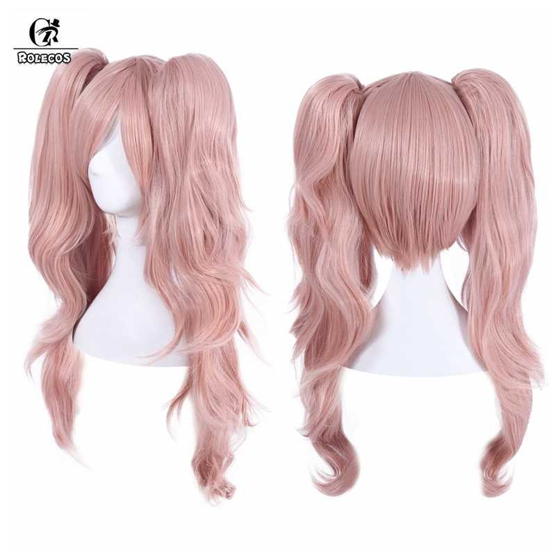 Rolecos danganronpa junko enoshima cosplay peruca jogo cosplay 65cm rosa rabo de cavalo buches cabelo feminino fibra sintética de alta temperatura