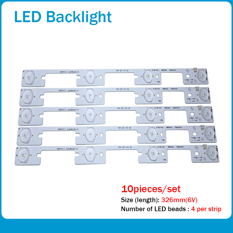 100 Pieces / Lot Original New LED Strip For KONKA KDL40SS662U 35019864 KDL39SS662U 35018339 4 LEDs (6V) 327mm