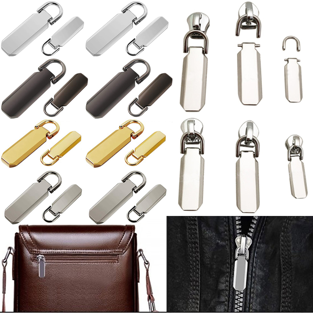 16 Pcs Zipper Pull Replacement Repair Mend Kit For Luggage Jacket Backpack Black