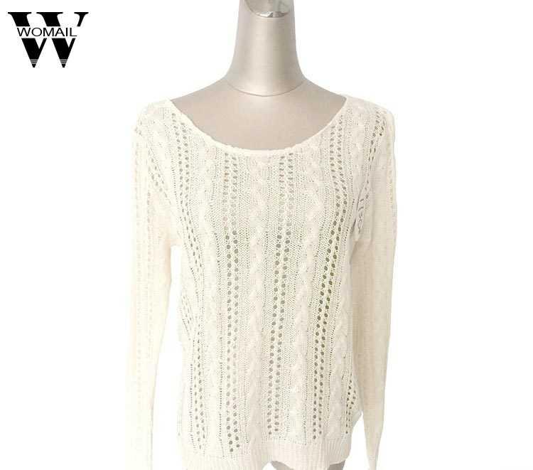 Womail เสื้อกันหนาวผู้หญิงเสื้อกันหนาวผู้หญิงรูปหัวใจ Hollow ถักแขนยาว TOP sweters ผู้หญิง S-L