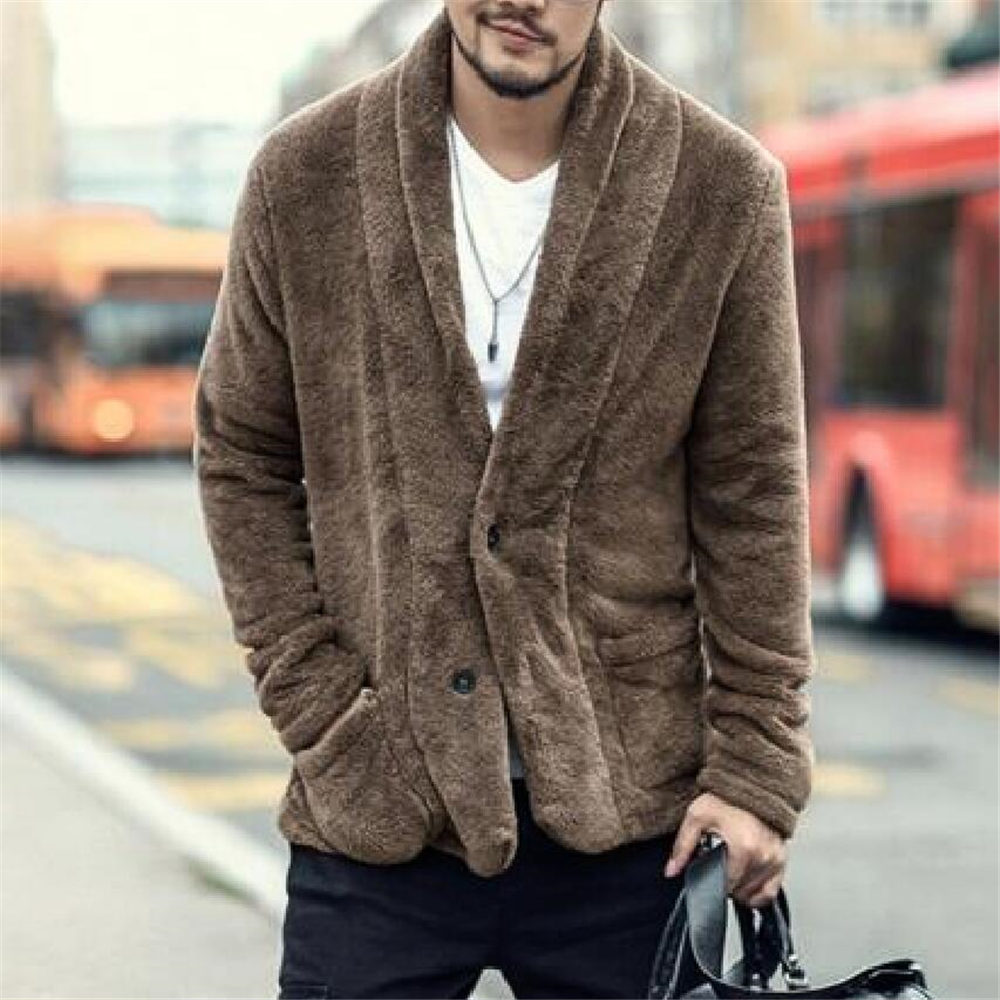 Men Winter Sherpa Cardigan Plus Size Fluffy Fleece Sweatshirt Big Pocket Warm Coat Casual Teddy Fleece Sweatshirts