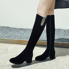 Plus Size 34-43 Womens Winter Shoes Knee High Boots Quality Faux Suede Brand Women Shoe Wool Long