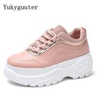 Women Running Shoes Sneakers Height Increasing 5 CM Outdoor Sport Female Cushioning Flats Girls Chunky Platform Footwear