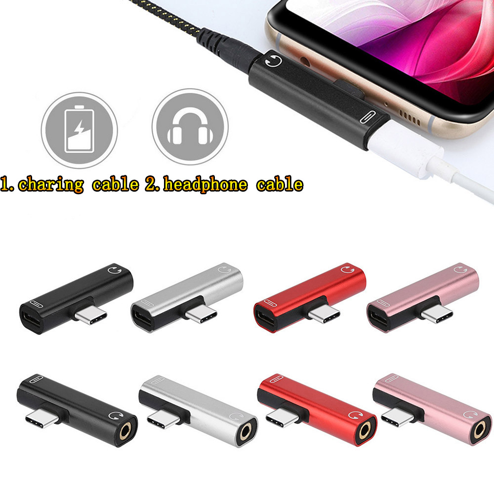2 In 1 Type C To 3.5mm Jack Earphone Adapter USB C Audio Adapter Charging Converter For Xiaomi 6 Huawei Mate 10pro Type C Phones