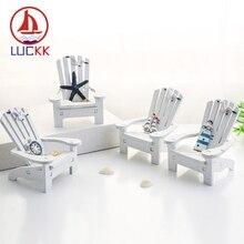 LUCKK 10CM Mediterranean Style Wooden Mini Beach Chair Model Nautical Home Decor Room Handcraft Marine Prop Kids Birthday Gifts