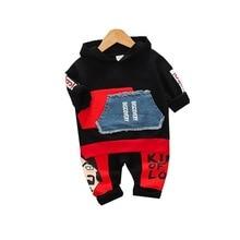 Autumn Children Casual Clothes suits Baby Boys Girl Pocket Hooded T shirt Cartoon Pants 2Pcs/sets Toddler Infant Cotton Clothing hooded panel pocket tartan shirt