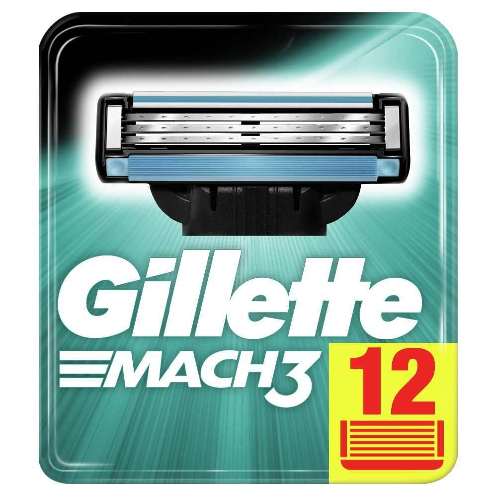เปลี่ยนมีดโกนใบมีดสำหรับผู้ชาย Gillette Mach 3 ใบมีดโกนหนวด 12 Pcs เทปโกนหนวด Mak3 โกนหนวดตลับหมึก Mach3