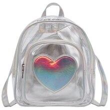 New Transparent Love Shoulder Bag Personality Colorful Children Backpack Student