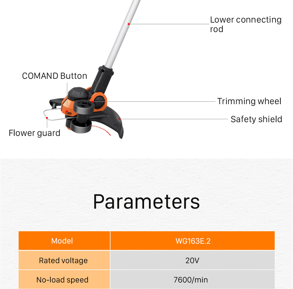 Parameters of  WORX Cordless Grass Trimmer