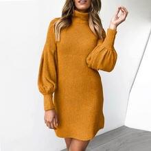 Свитер теплое зимнее платье с высоким плотно облегающим шею