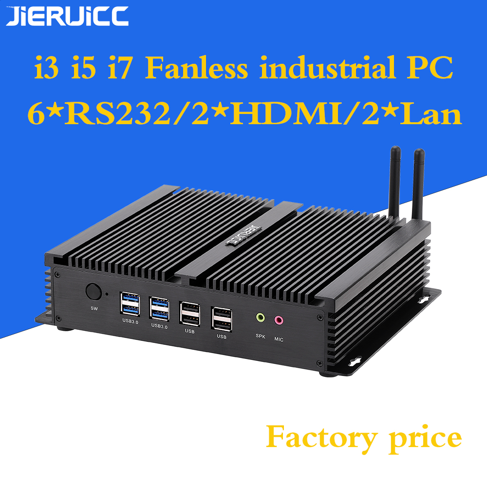 Cheap Industrial PC Fanless <font><b>Intel</b></font> <font><b>Core</b></font> <font><b>I3</b></font> <font><b>4010U</b></font> i5 4200u i7 4500u <font><b>Intel</b></font> NUC Barebone Mini PC with 6COM DUAL LAN Port 2 hdmi image