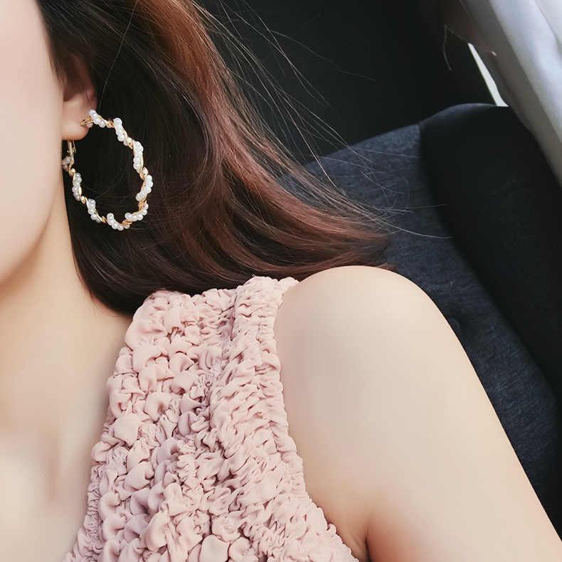 เกาหลีแฟชั่นยุ้ยจำลองเพิร์ลหูใหญ่แหวนวงกลมยุ้ยวงกลมโลหะต่างหูผู้หญิงเครื่องประดับของขวัญ 3 #