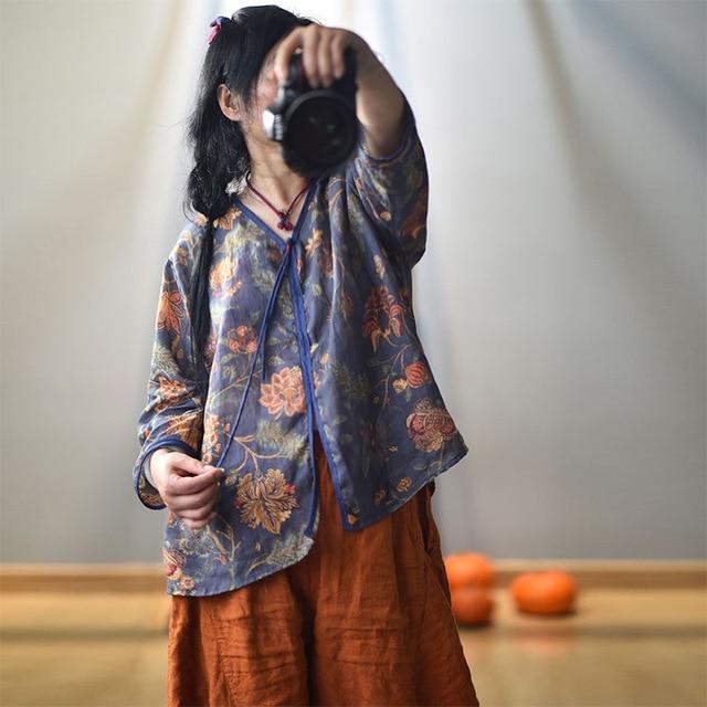 Women Spring Autumn V Neck Printed Blouse Tops Ladies Vintage Print Summer Blouses Female 2020 Shirt Tops 2