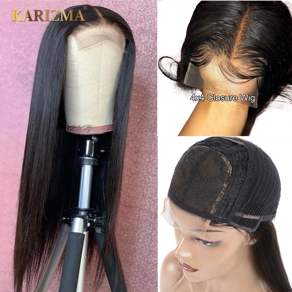 Karizma 4x4 Lace Closure Human Hair Wigs Remy Closure Lace Wigs Brazilian Hair Wigs Straight Lace Closure Wigs With Baby Hair