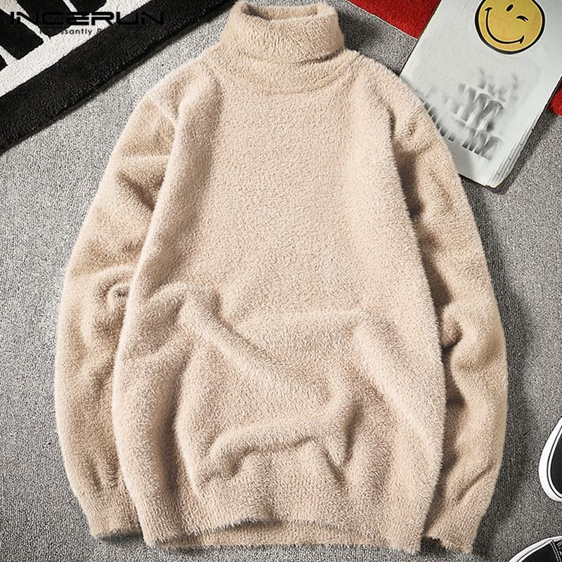 Winter Men Sweater Fake Mink Cashmere Warm Jumper Turtleneck Long Sleeve Chic 2020 Fashion Men Pullover Streetwear INCERIN S-5XL
