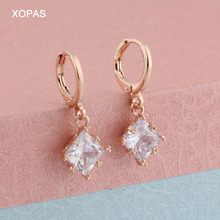 expensive large earrings white gold blue red 4 colors luxury jewelry great jewellery high quality big drop earring for women Luxury Women White Square Drop Earring With AAA Zircon 585 Rose Gold Earrings For Women Fashion Jewelry korean earrings 2020