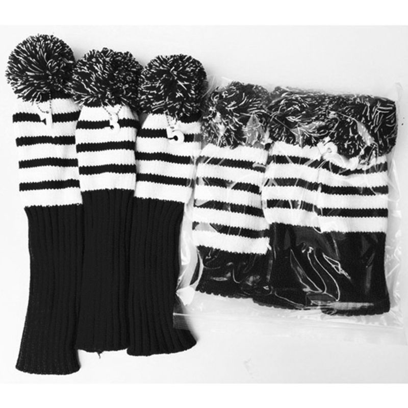 3 Pcs Knitted Golf Headcover Driver Cover Vintage Simple Design Three-piece Knit