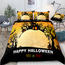 Happy Halloween Duvet Cover Set Trick or Treat Quilt Bedclothes Pillowcase Yellow Bedding King Size Bed Linen
