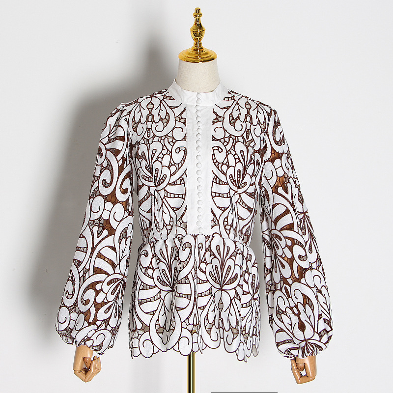Australia Popular Brand Non-mainstream Design 2020 Early Spring Palace Style Stand Collar Lantern Sleeve Lace Joint Waist