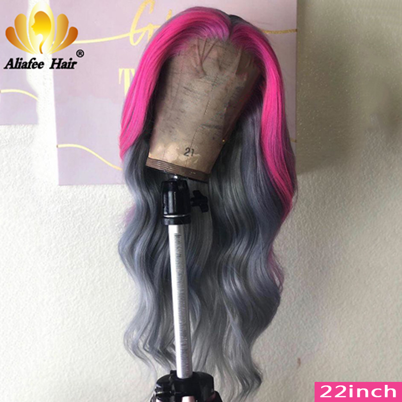 Aliafee Pink/Grey/Blue/Purple Color 13x4 Brazilian Body Wave Hair Lace Front Human Hair Wigs 150% Remy Long Wigs For Black Women
