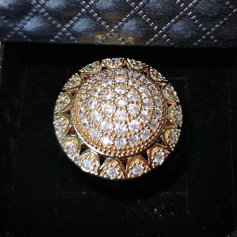 Übertreibung Luxus Hochzeit Einzigartige Gold Plt Ringe für Frauen Nahen Osten Stil Cubic Zirkon Mode Dubai Schmuck Dropshipping