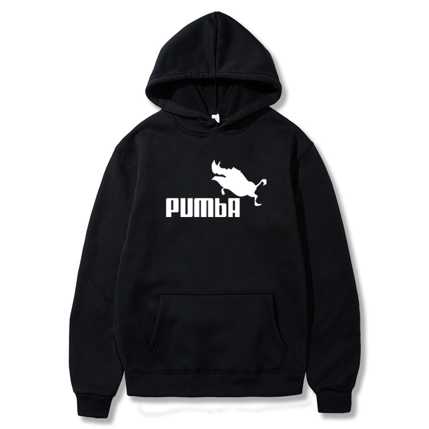 PUMBA Print New Men Fashion Long Sleeve Hoodie Sweatshirt Harajuku Jumper Hooded Pullover Tops Casual Loose White Coat