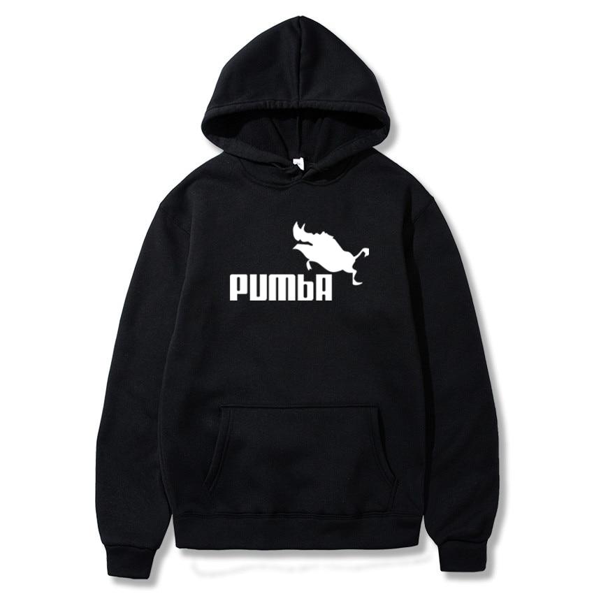 PUMBA Print New Men Fashion Long Sleeve Hoodie Sweatshirt Harajuku Jumper Hooded Pullover Tops Casual Loose White Coat