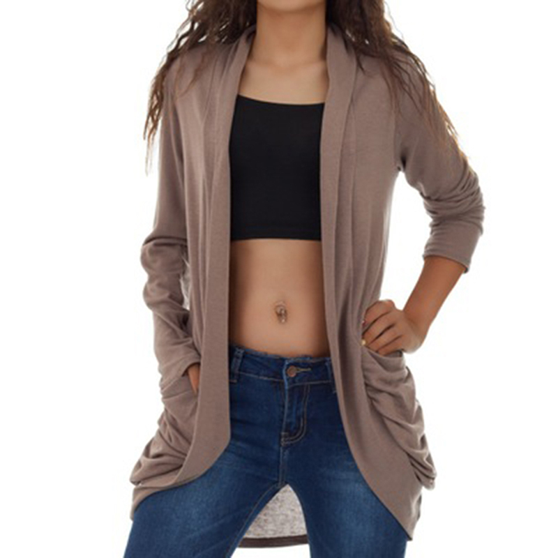 2019 Autumn And Winter  Women's Sweater Cardigan Loose Sweater Coat Female Solid Color With Pocket