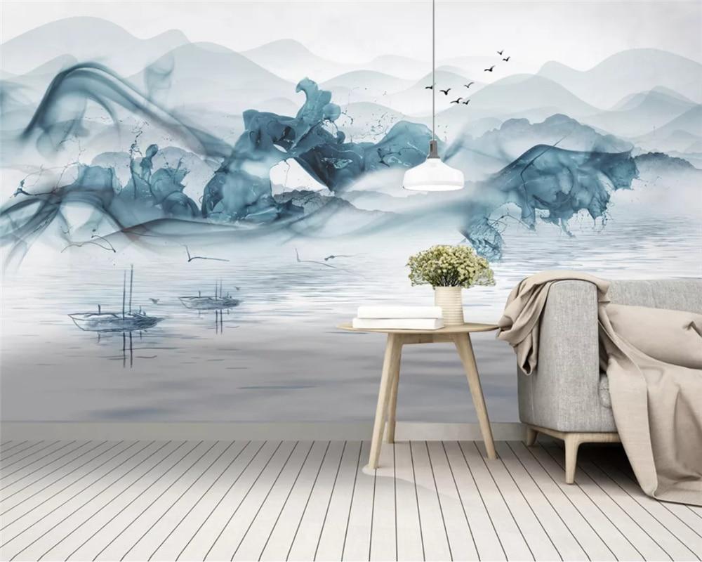 Beibehang Customized New Chinese Ink Landscape Blue Mood Decorative Painting Background Wallpaper Papel De Parede Papier Peint