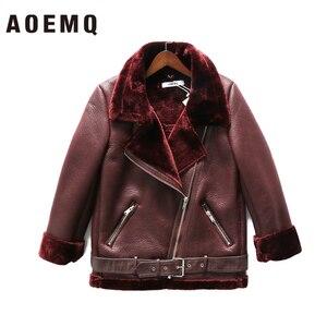 Image 3 - AOEMQ Retro nowy klapa i aksamitne wyściełane futro jeden płaszcz ciepła moda PU skóra jagnięca odzież motocyklowa Bomber Jacket