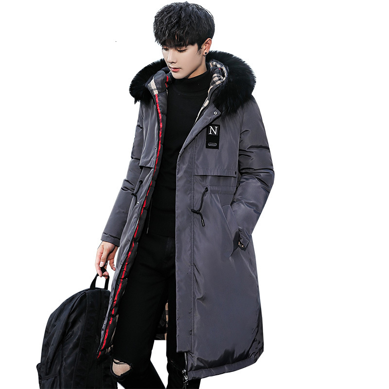 Cotton-padded 2020 Men's Winter Coat, A New Korean Version Of Slim Hooded Wool Collar Jacket For Men