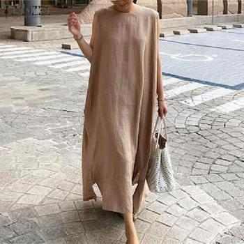 Summer Beach Dress ZANZEA 2020 Womens Split Sundress Casual Sleeveless Vestidos Female O Neck Solid Maxi Robe Oversized S-5XL цена 2017
