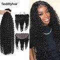 Глубокая волна бразильские волосы пряди человеческие волосы для наращивания, 3 пряди с пряди волос на заколках 13x4 волна пряди с пряди волос ...