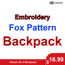 Classic Original Brand Fox Embroidery Backpack Young College Students Laptop