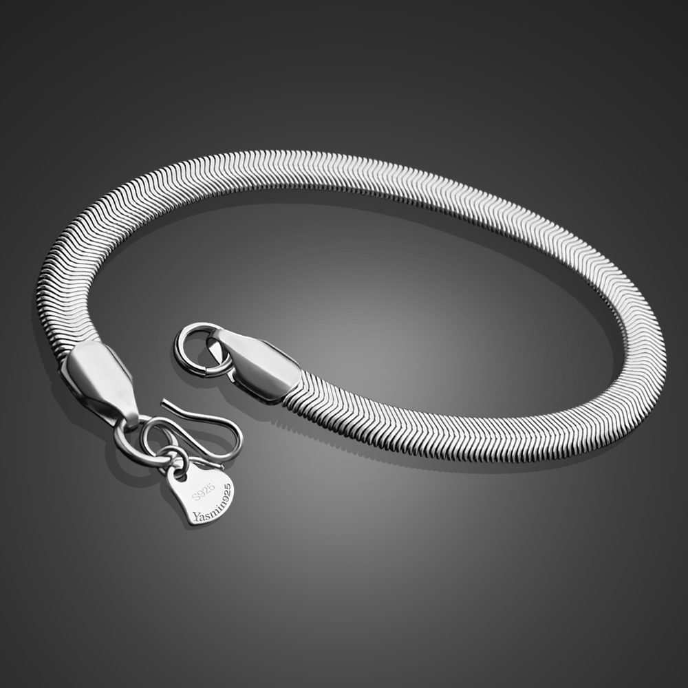 7.5 925 sterling silver handmade snake chain two line vintage antique design bracelet excellent unisex charm customized jewelry sbr189