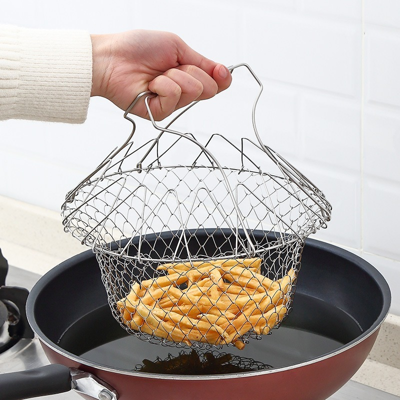 Stainless Steel Strainers Folding French Fries Basket Household Oil Fried Mesh Basket Multi-functional <font><b>Kitchen</b></font> <font><b>Tools</b></font> Gadgets image