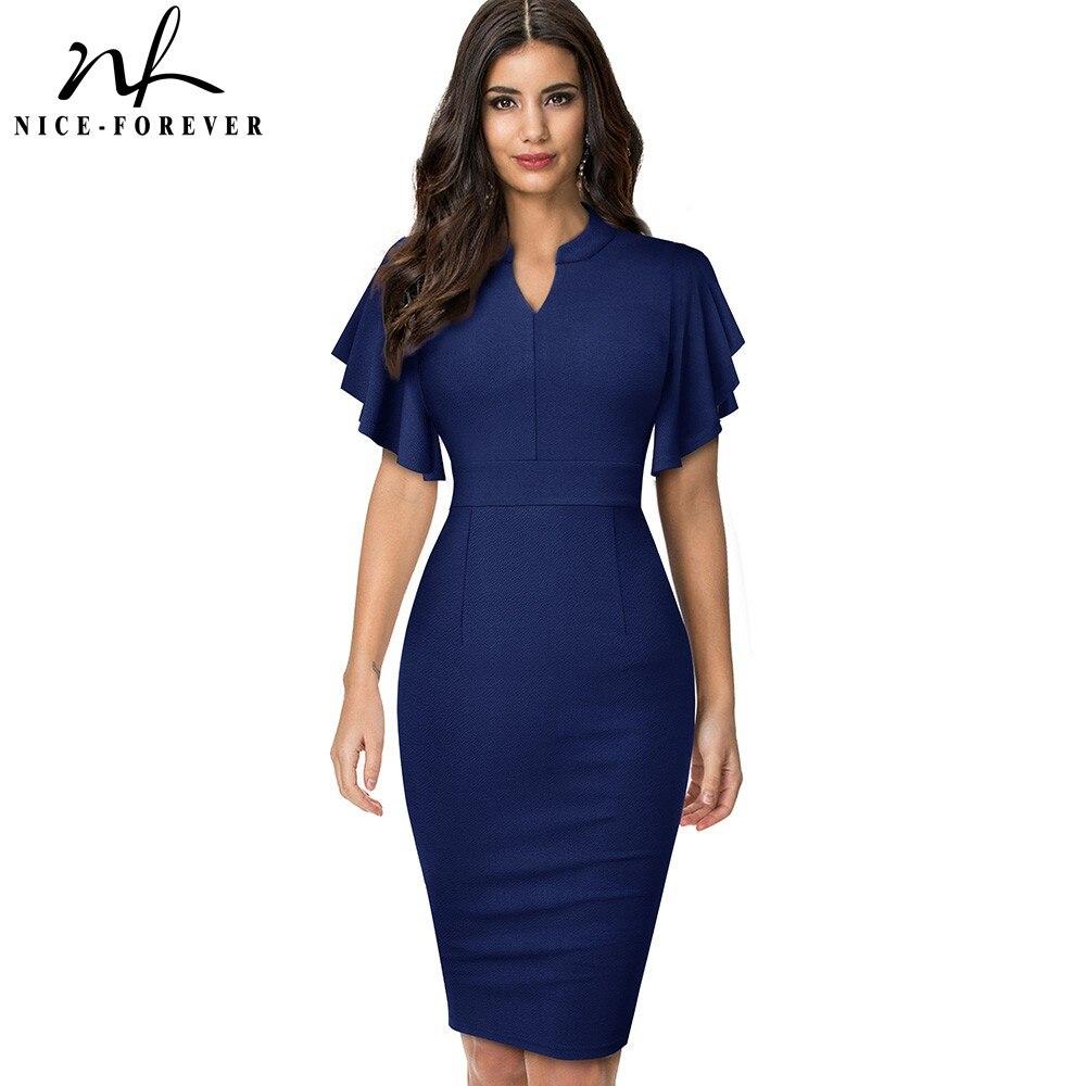 Nice forever Винтаж однотонные Цвет элегантное офисное платье vestidos Бизнес вечерние облегающее платье с оборками Для женщин карандаш платье B572|Платья|   | АлиЭкспресс