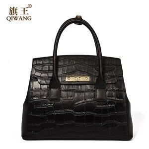 Image 5 - Qiwang שחור תיקי נשים 2019 דפוס תנין גבירותיי יד שקיות אמיתי עור כתף שקיות אופנה יוקרה Tote תיק